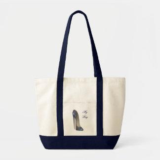 Elegant Blue Stiletto High Heel Shoe Art Gifts Tote Bags