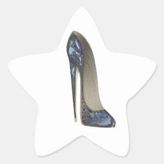 Elegant Blue Stiletto High Heel Shoe Art Gifts Star Sticker