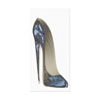 Elegant Blue Stiletto Shoe Art Canvas Print