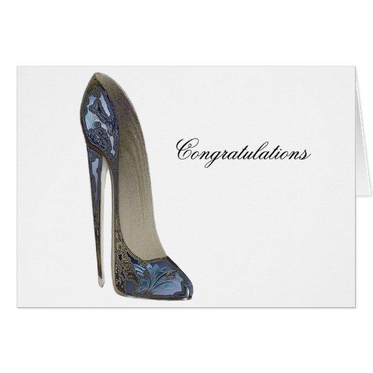 Elegant Blue Stiletto Shoe Art Gifts Card