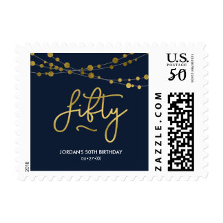Elegant Blue String of Lights 50th Birthday Party Postage