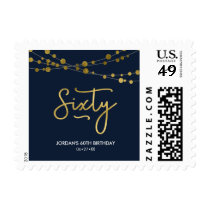 Elegant Blue String of Lights 60th Birthday Party Postage