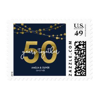 Elegant Blue Strings of Lights 50th Anniversary Postage