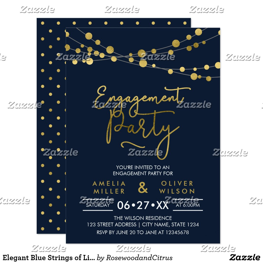 Elegant Blue Strings of Lights Engagement Party Invitation