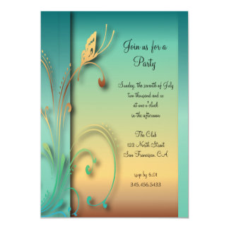 Elegant Blue Sunset Butterfly Party Template Card