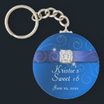 "Elegant Blue Sweet Sixteen Party Favor Key Chain<br><div class=""desc"">Pretty Royal Blue with Square Diamond,  Swirls and Satin Ribbon. Fun Favor for your party guests. Customize text and font to suit. ALL DESIGN ELEMENTS ARE PRINTED!</div>"