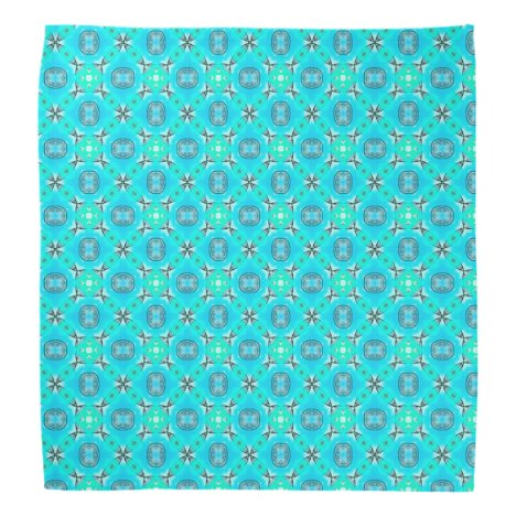 Elegant Blue Teal Abstract Modern Foliage Bandana
