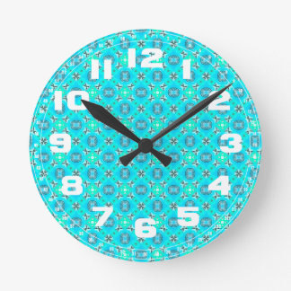 Elegant Blue Teal Abstract Modern Foliage Round Wall Clock