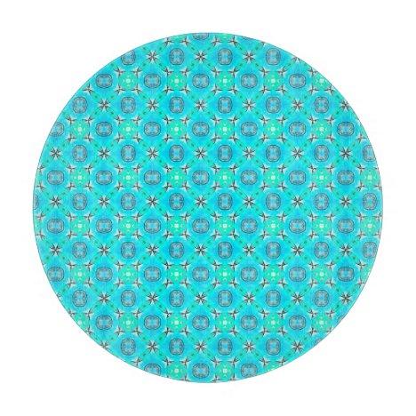 Elegant Blue Teal Abstract Modern Foliage Cutting Board