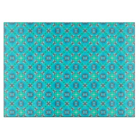Elegant Blue Teal Abstract Modern Foliage Cutting Board