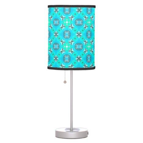 Elegant Blue Teal Abstract Modern Foliage Desk Lamp