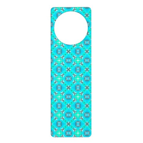 Elegant Blue Teal Abstract Modern Foliage Door Hanger