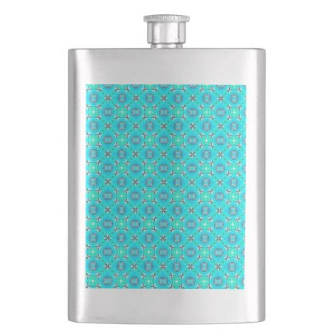 Elegant Blue Teal Abstract Modern Foliage Flask