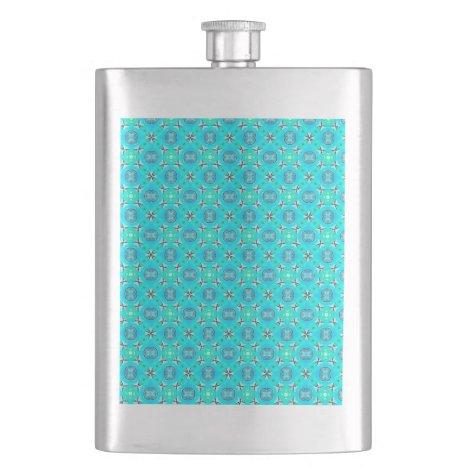 Elegant Blue Teal Abstract Modern Foliage Flask
