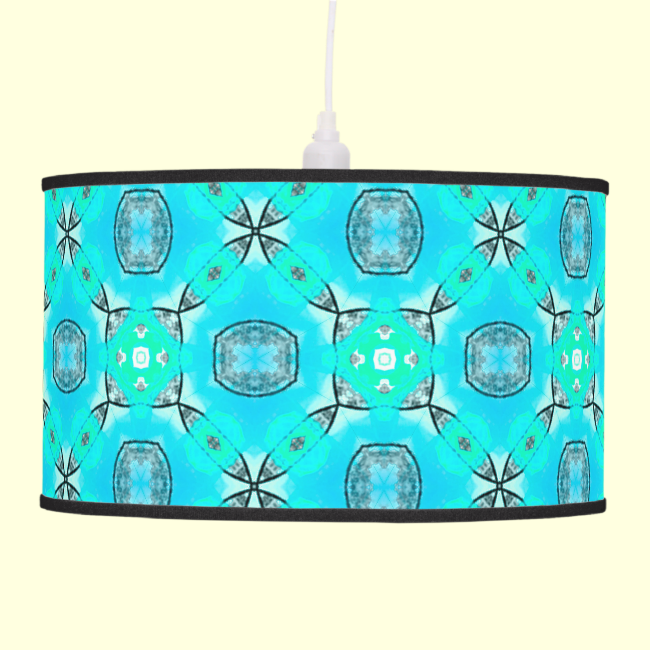 Elegant Blue Teal Abstract Modern Foliage Hanging Lamp