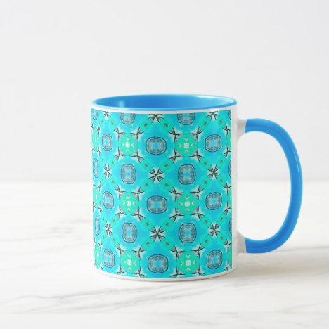 Elegant Blue Teal Abstract Modern Foliage Mug