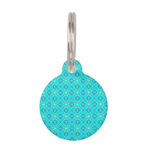 Elegant Blue Teal Abstract Modern Foliage Pet Tag