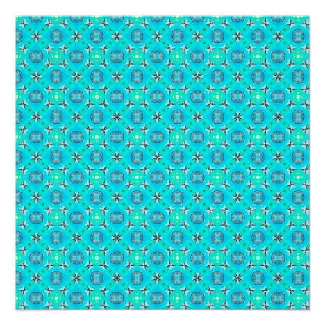 Elegant Blue Teal Abstract Modern Foliage Poster