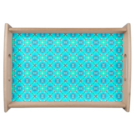 Elegant Blue Teal Abstract Modern Foliage Serving Tray