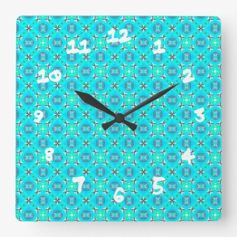 Elegant Blue Teal Abstract Modern Foliage Square Wall Clock