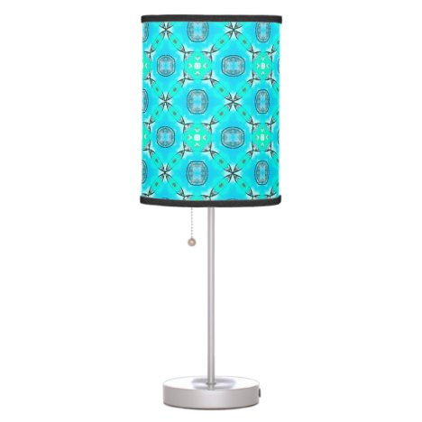 Elegant Blue Teal Abstract Modern Foliage Table Lamp