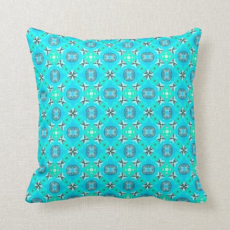 Elegant Blue Teal Abstract Modern Foliage Throw Pillow