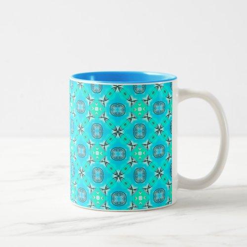 Elegant Blue Teal Abstract Modern Foliage Two-Tone Coffee Mug