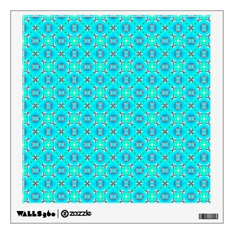 Elegant Blue Teal Abstract Modern Foliage Wall Decal