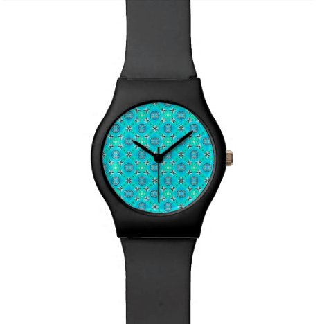 Elegant Blue Teal Abstract Modern Foliage Wrist Watch