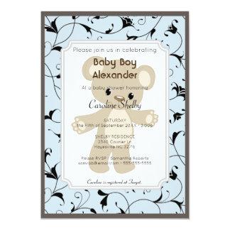 Elegant Blue Teddy Bear Boy Baby Shower Invitation