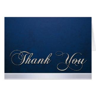 Elegant Blue Texture Modern Silver Thank You Card