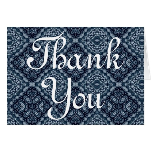 Elegant blue tile pattern Thank You Stationery Note Card