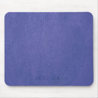 Elegant Blue Tones Faux Leather Print Mouse Pad