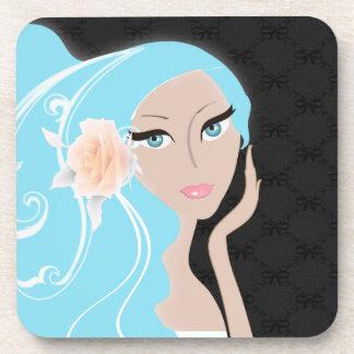Elegant Blue Trendy Fashionista Cork Coasters
