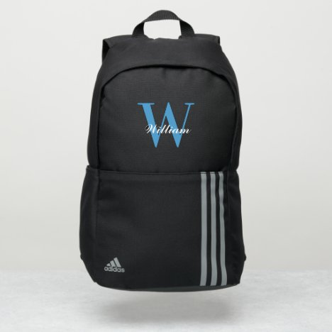 Elegant blue typography monogram script name adidas backpack