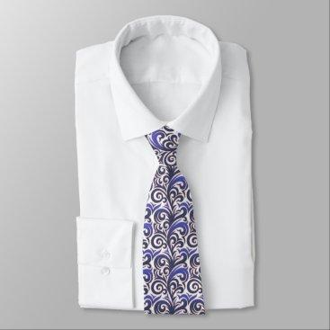 Professional Business Elegant Blue Verdure Pattern Tie