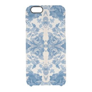 Elegant blue vintage floral uncommon clearly™ deflector iPhone 6 case