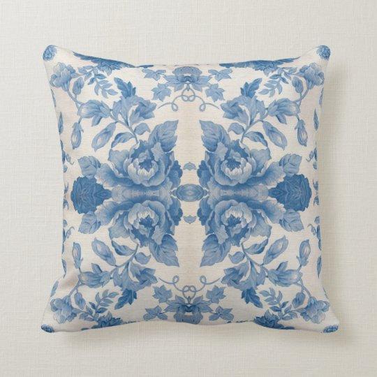 Throw Pillows Vintage Fabric : Elegant blue vintage floral throw pillow Zazzle