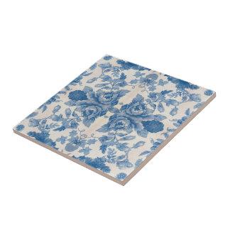 Elegant blue vintage floral tile