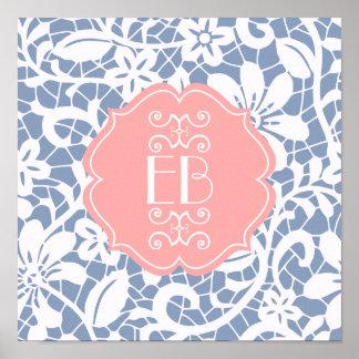 Elegant Blue Vintage Lace Personalized Monogram Poster