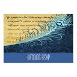 Elegant Blue Vintage Peacock Wedding RSVP Cards Personalized Announcement