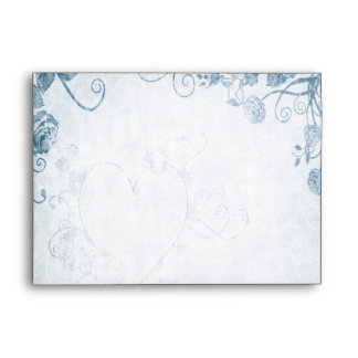 Elegant Blue Vintage Wedding Envelope