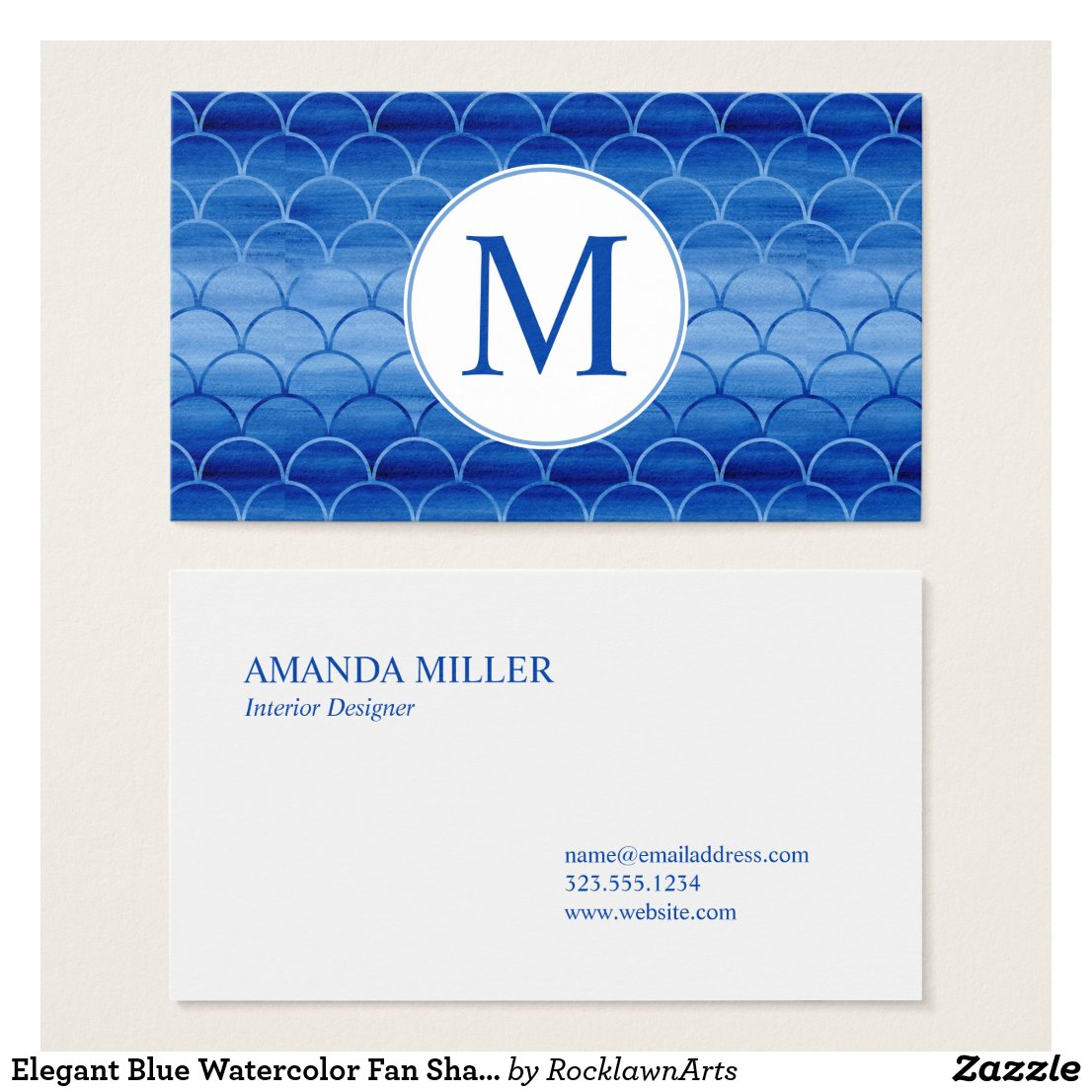 Elegant Blue Watercolor Fan Shape Pattern Monogram Business Card