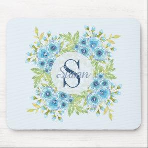Elegant Blue Watercolor Flower Monogram Mouse Pad