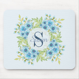 Elegant Blue Watercolor Flower Monogram Mouse Pad