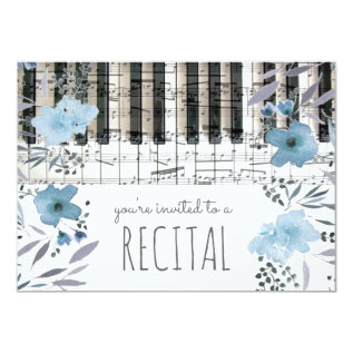 elegant blue watercolor flowers music recital card at Zazzle