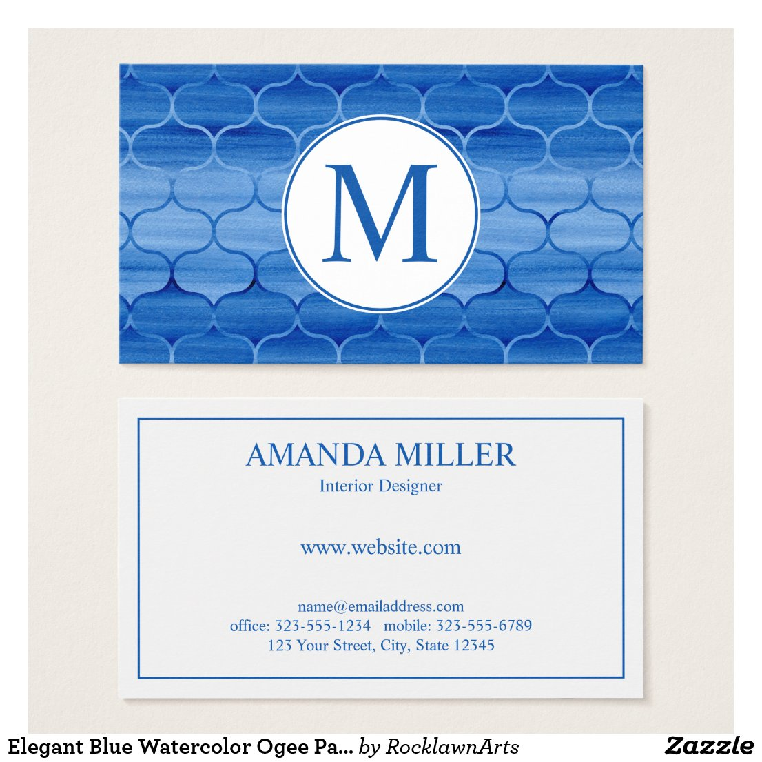 Elegant Blue Watercolor Ogee Pattern Monogram Business Card