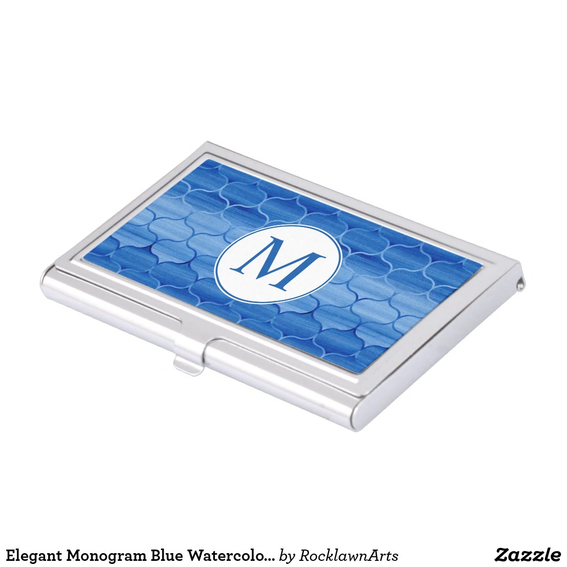 Elegant Blue Watercolor Ogee Pattern with Monogram Business Card Case