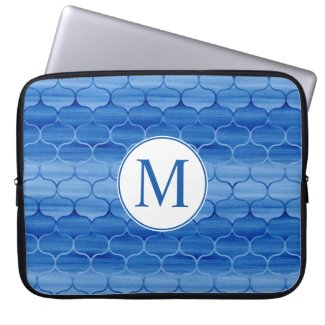 Elegant Blue Watercolor Ogee Pattern with Monogram Computer Sleeve