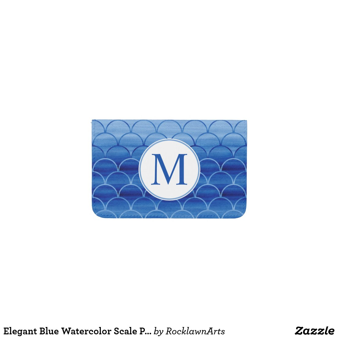 Elegant Blue Watercolor Scale Pattern Monogram Business Card Holder